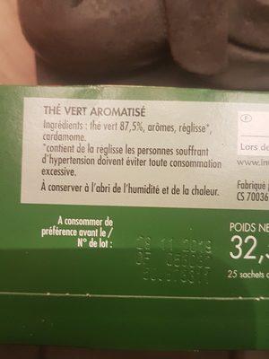 Cotterley Thé vert - Ingredients - fr