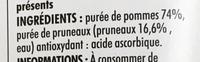 Pomme Pruneau sans sucres ajoutés - Ingrédients - fr