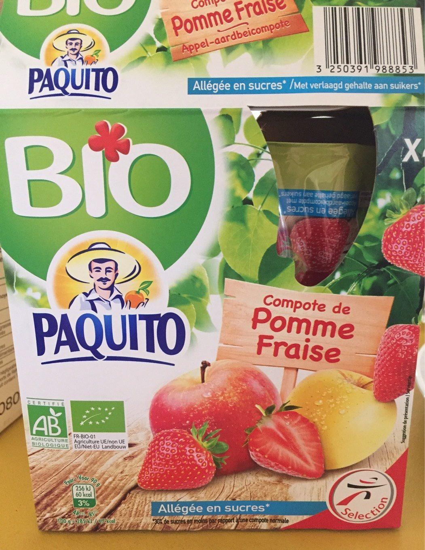 Paquito Compote de pomme fraise BIO allégée en sucres les 4 gourdes de 90 g - Produit