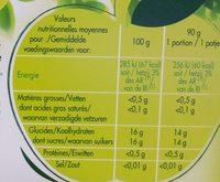 Paquito Compote de pomme fraise BIO allégée en sucres les 4 gourdes de 90 g - Informations nutritionnelles