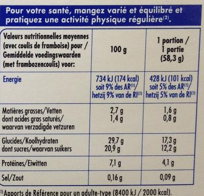 Gâteau au fromage frais & son coulis de framboise - Nutrition facts - fr
