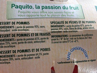 Compote Pomme Panachée Pomme Fraise Poire Pêche - Ingrédients - fr