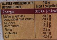 Compote Pomme Panachée Pomme Fraise Poire Pêche - Informations nutritionnelles - fr