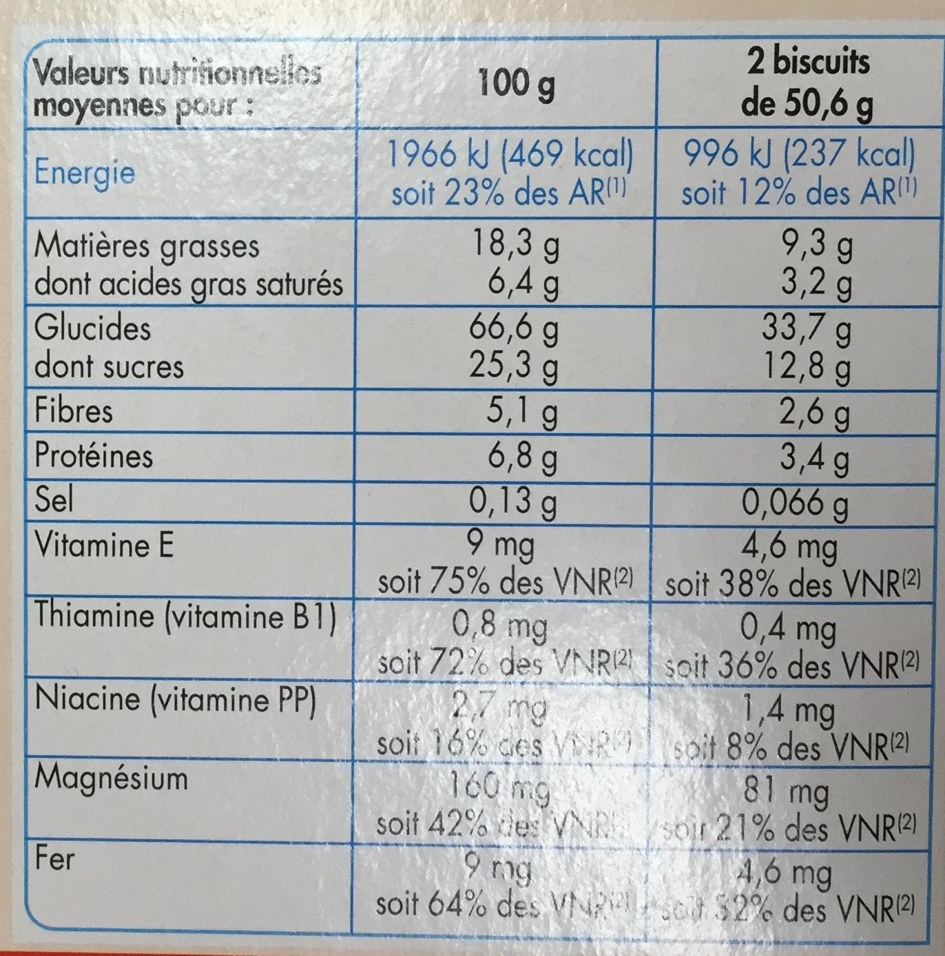 Biscuits pour le Petit Déjeuner - goût chocolat noisette - Nutrition facts - fr
