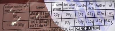 Mon Gourmand au Torchon (25% de sel en moins) - Informations nutritionnelles