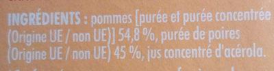 L'Essentiel Pomme-Poire sans sucres ajoutés - Ingredients - fr