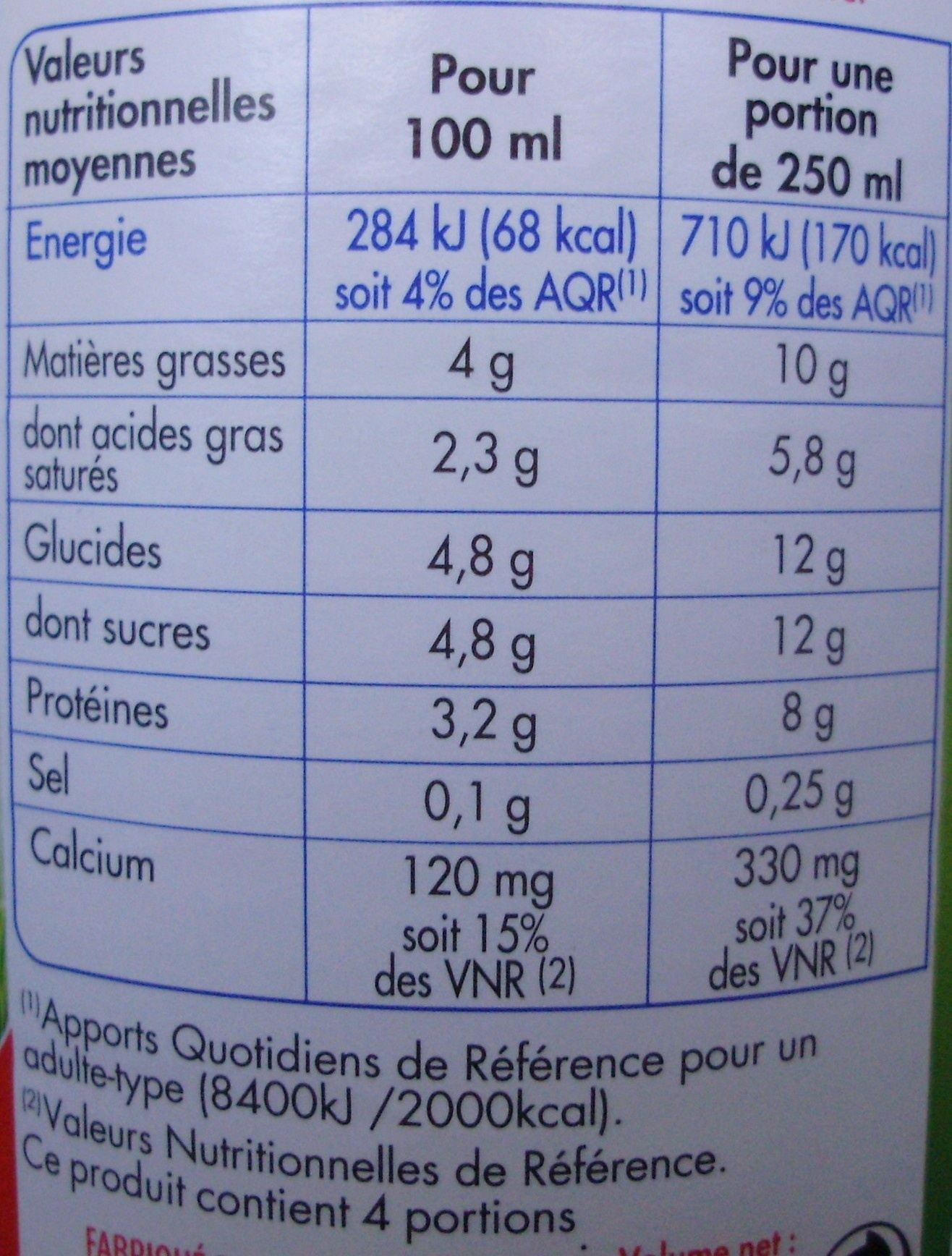 Lait frais entier bio - Informations nutritionnelles - fr