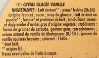 Bac crème de vanille (CG) - Ingrédients - fr