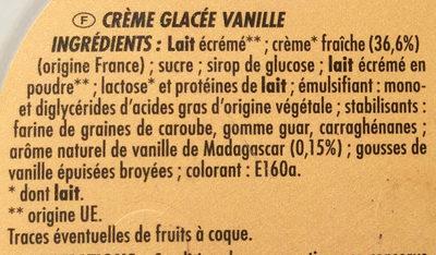 Bac crème de vanille (CG) - Ingredients