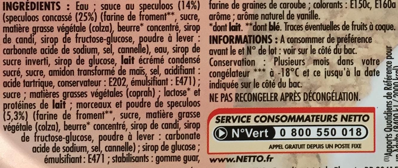 Bac vanille speculoos (G) - Ingredients