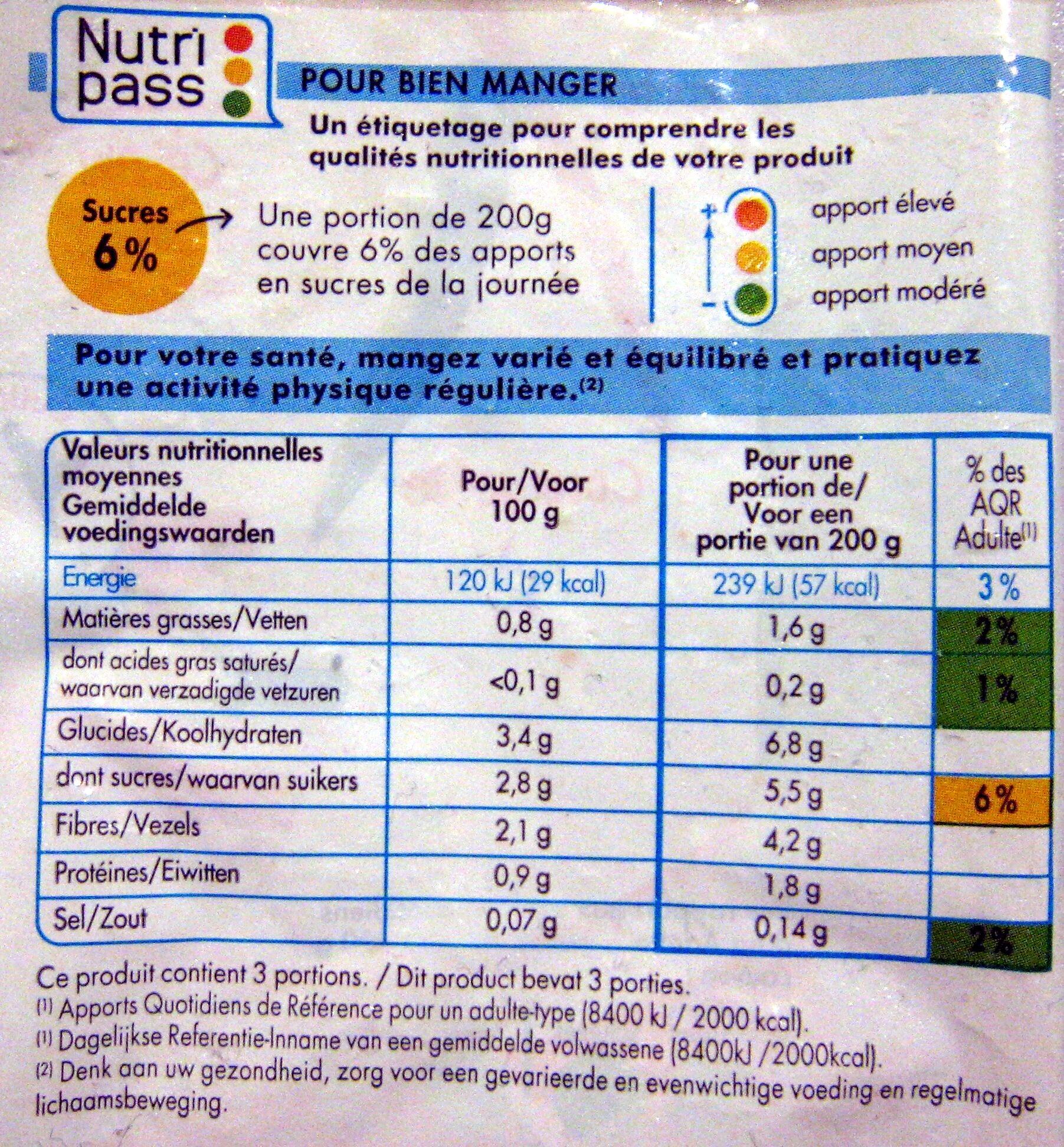 Julienne de légumes bio surgelé Saint Eloi - Nutrition facts - fr