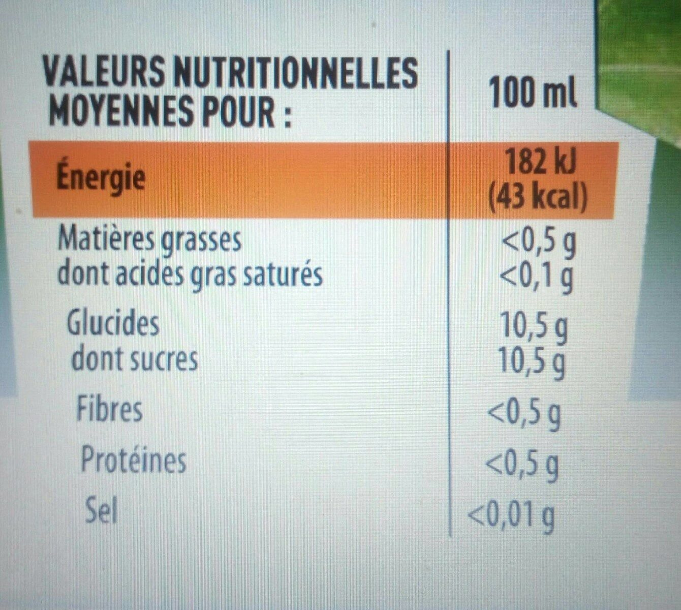 Mojito sans alcool, citron vert menthe - Informations nutritionnelles - fr