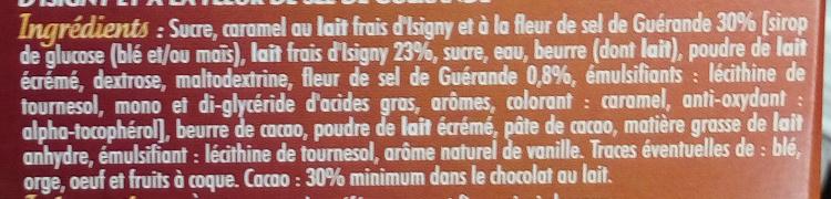 Tablette fourrée chocolat au lait caramel - Ingredients
