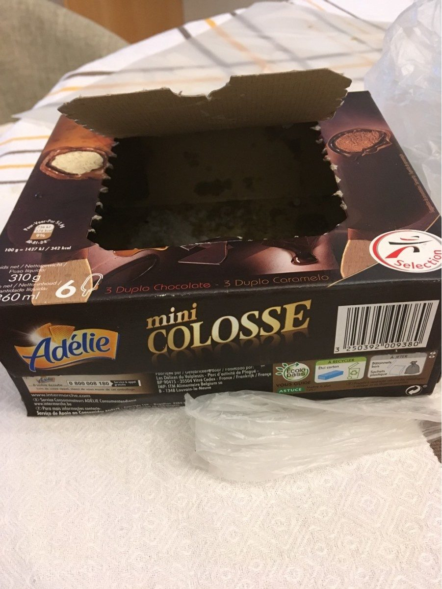 Mini colosses double 6x60ml chocolat / vanille caramel - Product