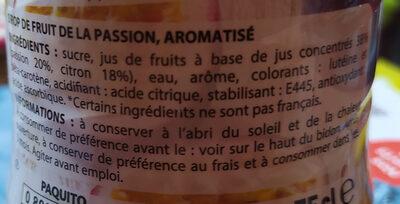 sirop fruit de la passion - Ingredients - fr