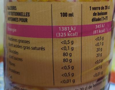 sirop fruit de la passion - Nutrition facts - fr