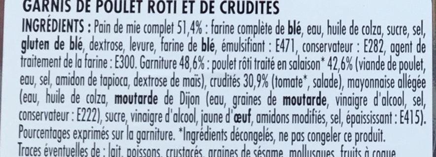 Poulet rôti crudités - Ingrédients - fr