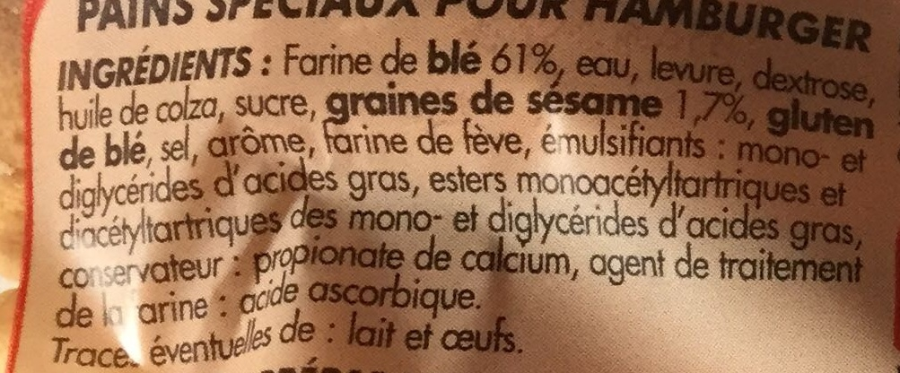 4 Pains pour Hamburgers Géants - Ingredients - fr