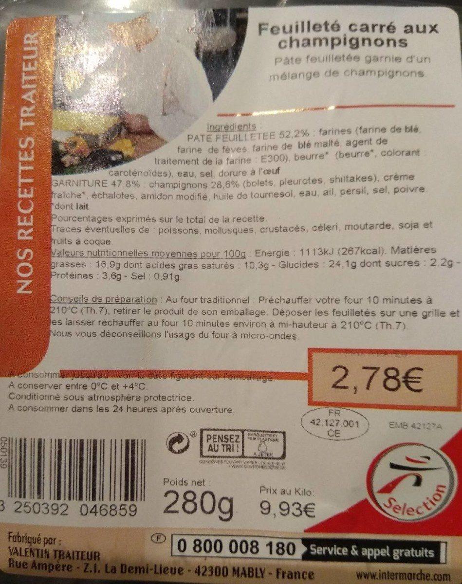 Feuilleté carré aux champignons - Product - fr