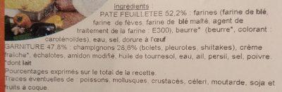 Feuilleté carré aux champignons - Ingredients - fr
