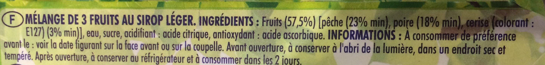 Fruits du verge pêche poire cerise au sirop léger - Ingrédients - fr