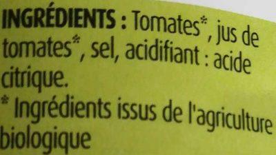Tomates entières pelées Bio - Ingrédients - fr
