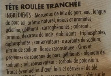 Tête roulée - Ingrédients - fr