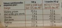 Tête roulée - Informations nutritionnelles - fr