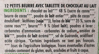 Petit Beurre avec tablette de chocolat au lait BIO - Ingredients - fr