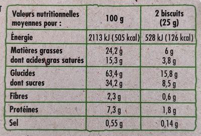 Petit Beurre avec tablette de chocolat au lait BIO - Nutrition facts - fr