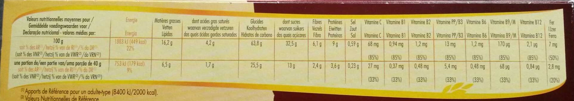 Crica 2 choco - Informations nutritionnelles - fr