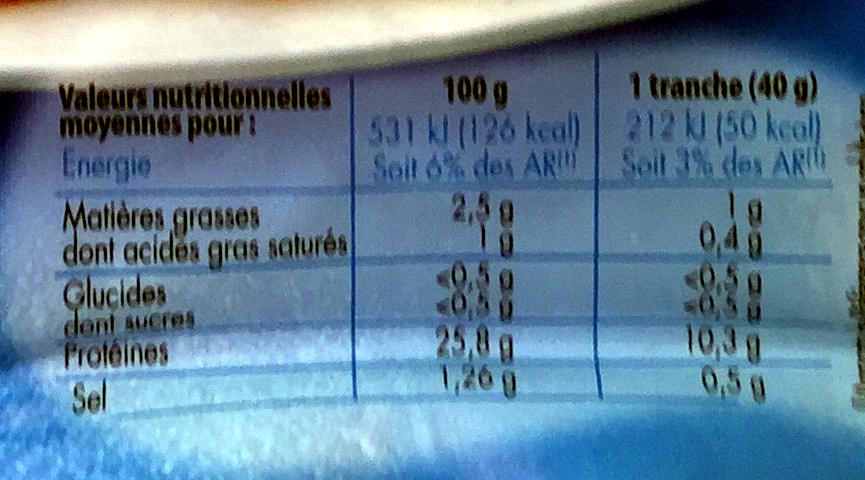 Mon Rôti de Porc (2,5% MG) (-25% sel) - Nutrition facts - fr
