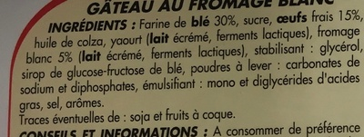 Gâteau au fromage blanc aux œufs frais - Ingrediënten - fr