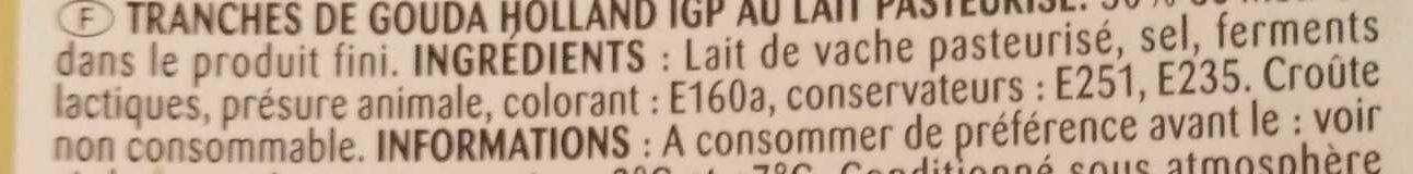 Gouda Holland les tranchettes (30 % M.G.) - Ingrédients