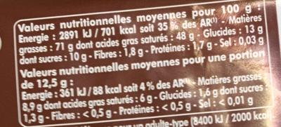 Pépites de Chocolat Tartine et Cuisine - Nutrition facts