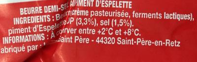 Beurre au Piment d'Espelette Demi-Sel - Ingredients