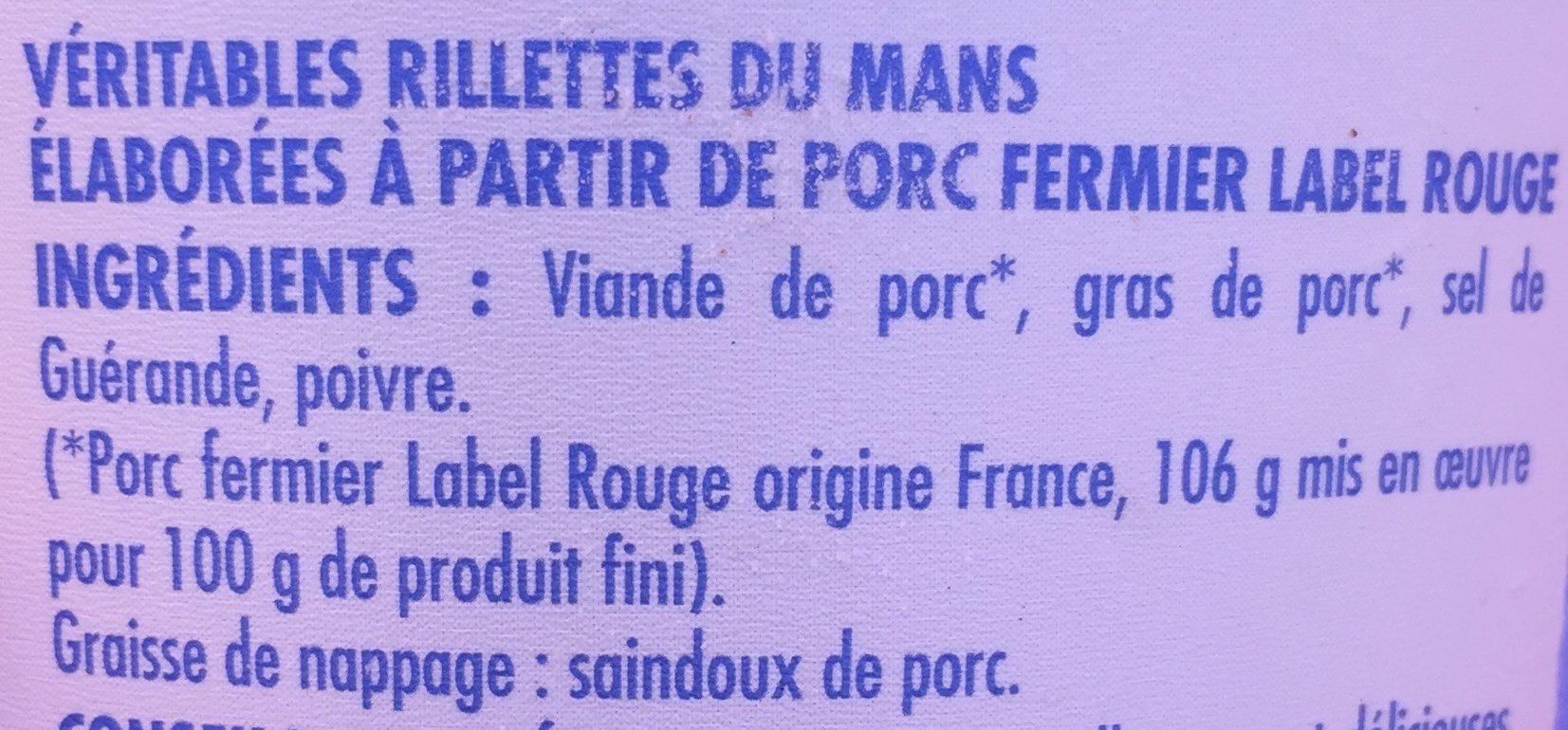 Véritables rillettes du Mans - Ingredients - fr