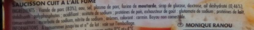 Saucisson à l'Ail Tranché - Ingrédients - fr