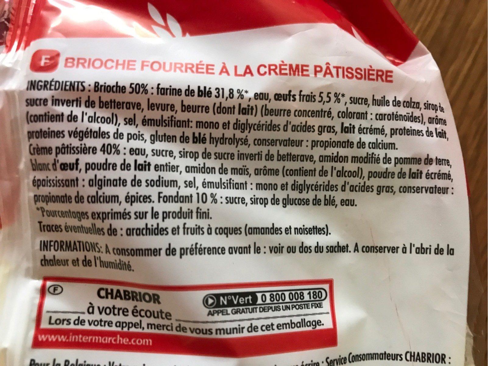 Brioche Chinois à la crème pâtissière - Ingrédients - fr