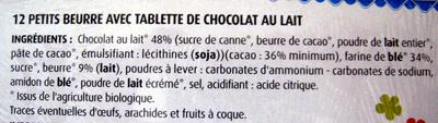 Petit Beurre avec tablette de chocolat au lait BIO (lot de 2) - Ingrédients - fr