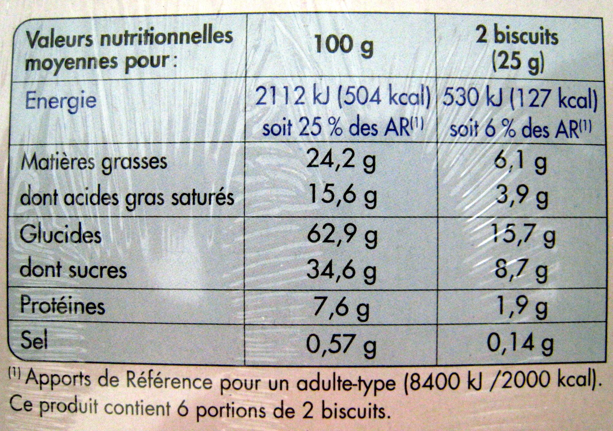 Petit Beurre avec tablette de chocolat au lait BIO (lot de 2) - Informations nutritionnelles - fr