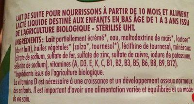 Pommette Lait de suite liquide 3 de 10 mois à 3 ans BIO la bouteille de 1 l - Ingrédients - fr