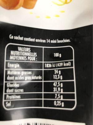 Les Créations Les Fantastiques mini bouchées au citron et aux amandes le sachet de 210 g - Nutrition facts