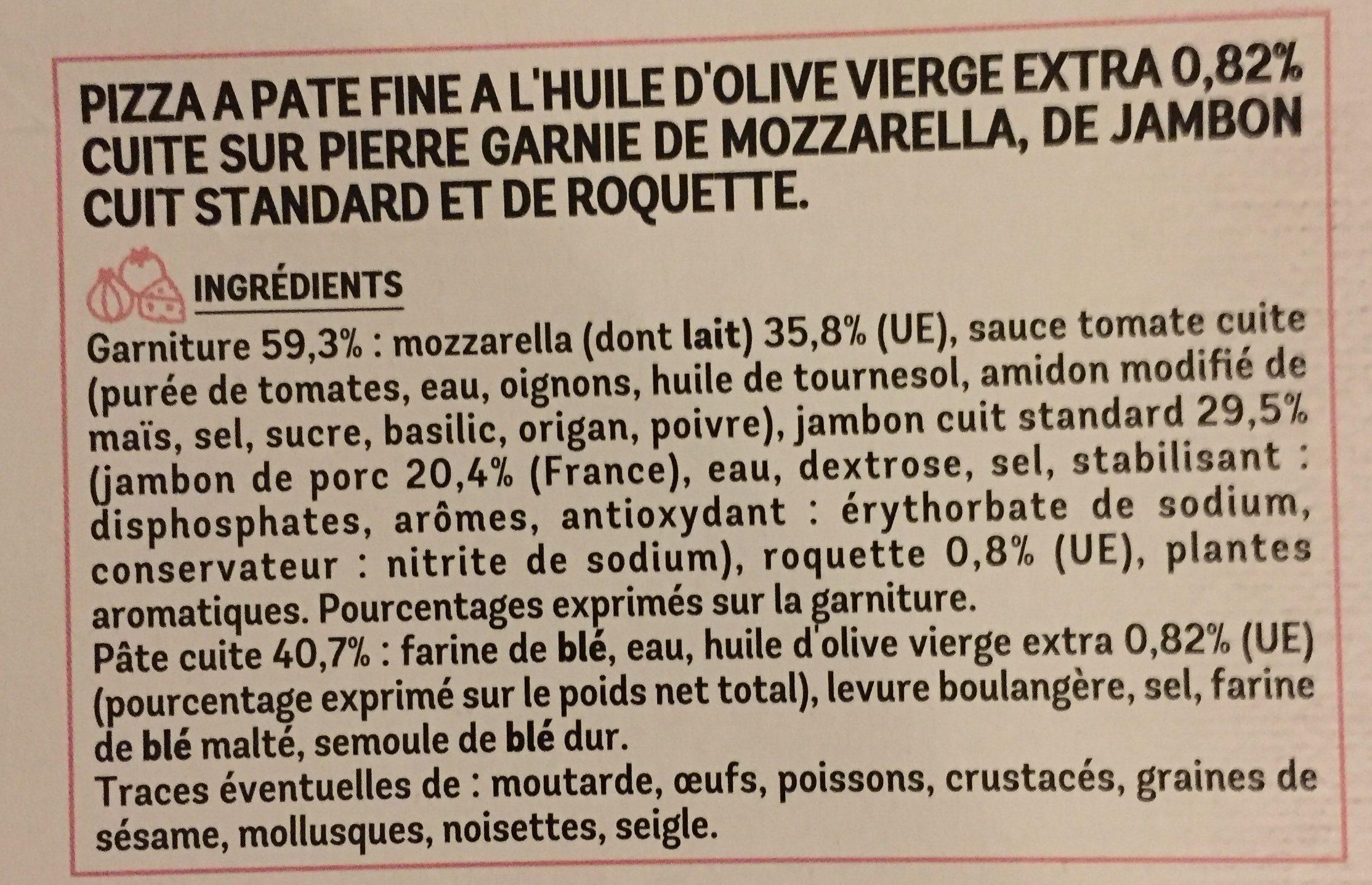 La Pizza Capri mozzarella jambon roquette - Ingrédients