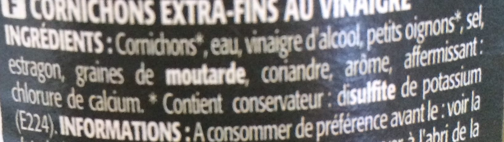 Cornichons extra-fins - Ingrediënten