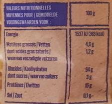 Corolles d'Alsace - Informations nutritionnelles - fr