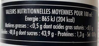 Le supreme Douceur balsamique - Nutrition facts