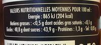 Suprême à base de vinaigre  balsamique de modène - Informations nutritionnelles - fr