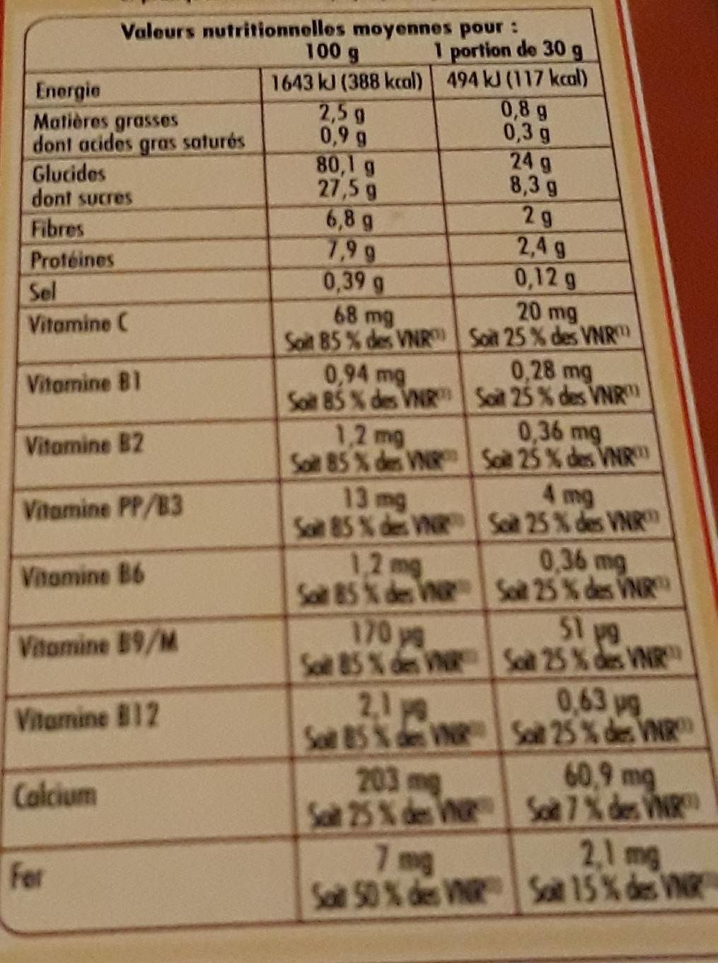 Crousti cookies - Nutrition facts - fr