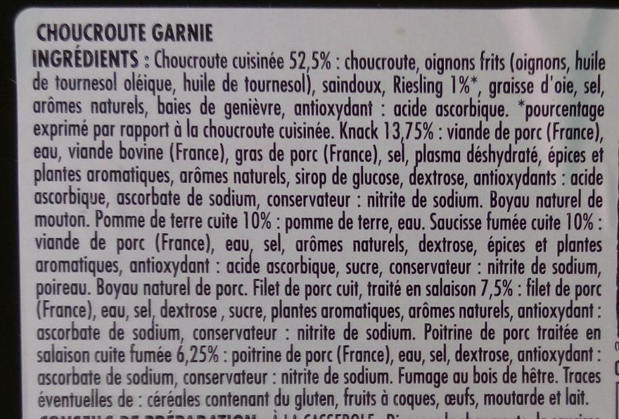 Véritable choucroute garnie d'Alsace au riesling - Ingredients - fr